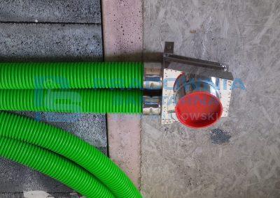 Projekt i montaż wentylacji mechanicznej - przewody PEHD podwieszone pod stropem