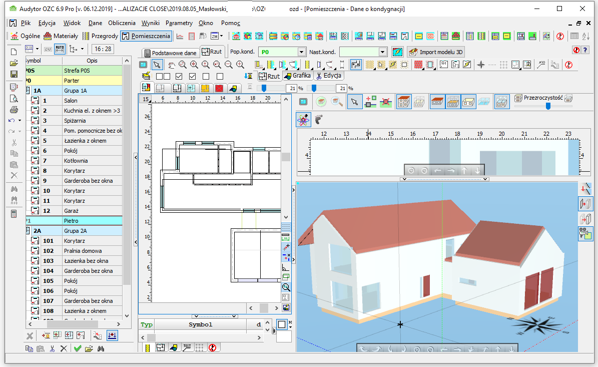 Trójwymiarowy model budynku wykonany w programie Audytor OZC